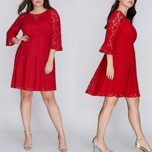 22W Lane Bryant Red Lace Fit & Flare Dress NWT